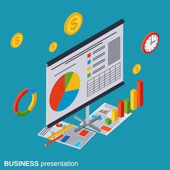 Ejemplo isométrico plano del concepto del vector de la presentación del negocio