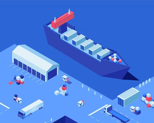 Ejemplo isométrico del vector del muelle vacío del envío almacenes de almacenamiento, naves industriales y camiones de carga en puerto. negocio de transporte de mercancías, servicio de entrega marítima, distribución de carga.