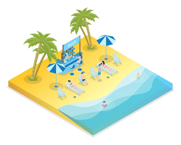 Ejemplo isométrico del vector de la reconstrucción de la playa de la arena. turistas masculinos y femeninos con niños y bartender personajes de dibujos animados en 3d. bar con cócteles, vacaciones de temporada, resort tropical, descanso en la orilla del mar.