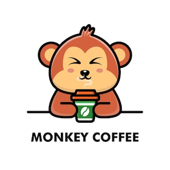 Ejemplo lindo del café del logotipo del animal de la historieta de la taza de café de la bebida del mono