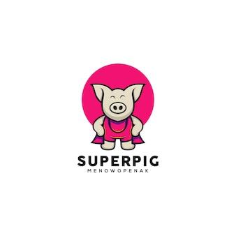 Ejemplo lindo del cerdo del héroe del estilo de la historieta