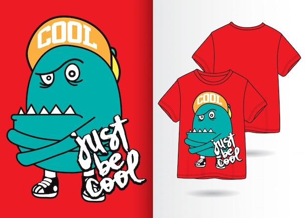 Ejemplo lindo dibujado mano del monstruo con diseño de la camiseta