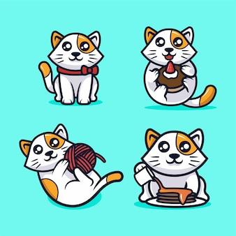 Ejemplo lindo del diseño del vector de la mascota del gato de kawaii