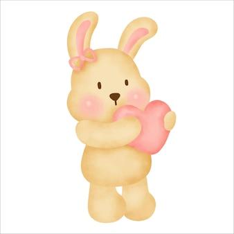 Ejemplo lindo del drenaje de la mano de la acuarela del conejo de la historieta