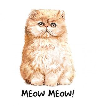 Ejemplo lindo del gato de la acuarela camiseta estampada.