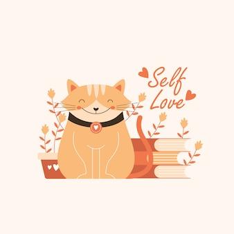 Ejemplo lindo del gato con cita del amor de uno mismo
