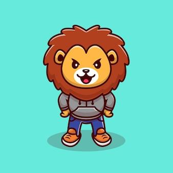 Ejemplo lindo de la historieta de la mascota del león. concepto de icono de fauna animal