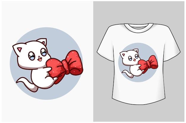 Ejemplo lindo de la historieta del pequeño gato de la plantilla