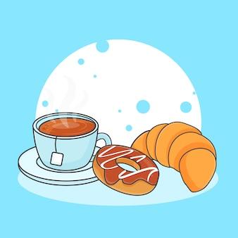 Ejemplo lindo del icono del croissant, del buñuelo y del té. concepto de icono de comida dulce o postre. estilo de dibujos animados