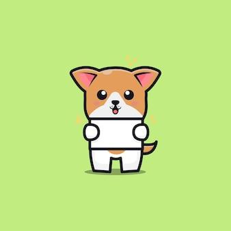 Ejemplo lindo del icono de la historieta de la bandera del asimiento del perro
