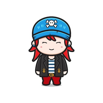 Ejemplo lindo del icono de la historieta del carácter de los piratas de la muchacha. diseño de estilo de dibujos animados plano aislado