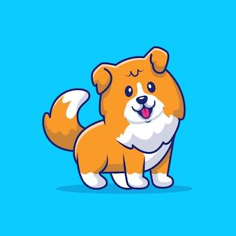 Ejemplo lindo del icono de la historieta del perro de sheltie. concepto de icono animal aislado. estilo plano de dibujos animados
