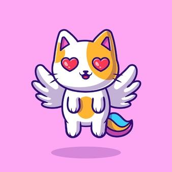 Ejemplo lindo del icono de la historieta del vuelo del unicornio del gato. concepto de icono de naturaleza animal aislado vector premium. estilo de dibujos animados plana