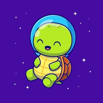 Ejemplo lindo del icono del vector de la historieta del astronauta de la tortuga. concepto de icono de tecnología animal aislado vector premium. estilo de dibujos animados plana