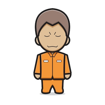 Ejemplo lindo del icono del vector de la historieta del carácter del prisionero. vector aislado del concepto de icono de villano. estilo de dibujos animados plana