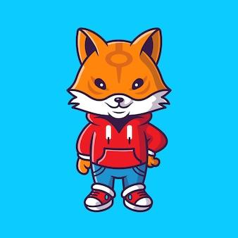 Ejemplo lindo del icono del vector de la historieta de la chaqueta que lleva del zorro fresco. concepto de icono de moda animal vector aislado. estilo de dibujos animados plana