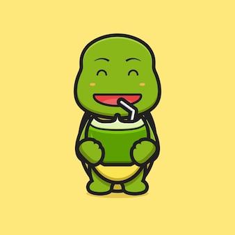 Ejemplo lindo del icono del vector de la historieta del coco de la bebida del carácter de la mascota de la tortuga. diseño aislado en amarillo. estilo de dibujos animados plana.
