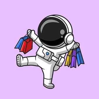 Ejemplo lindo del icono del vector de la historieta de las compras del astronauta. concepto de icono de negocio de tecnología aislado vector premium. estilo de dibujos animados plana