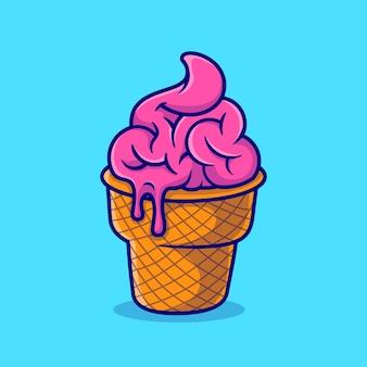 Ejemplo lindo del icono del vector de la historieta del helado del cerebro. concepto de icono de comida de ciencia aislado vector premium. estilo de dibujos animados plana