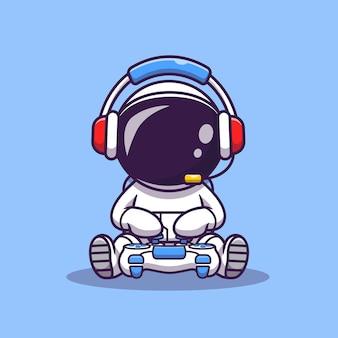 Ejemplo lindo del icono del vector de la historieta del juego del astronauta. icono de tecnología de ciencia