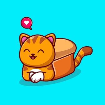 Ejemplo lindo del icono del vector de la historieta del pan de gato. concepto de icono de comida animal aislado vector premium. estilo de dibujos animados plana