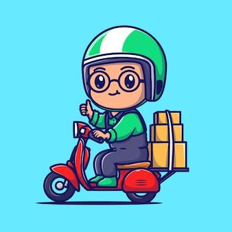 Ejemplo lindo del icono del vector de la historieta del paquete de la entrega del mensajero. concepto de icono de transporte de personas aislado vector premium. estilo de dibujos animados plana