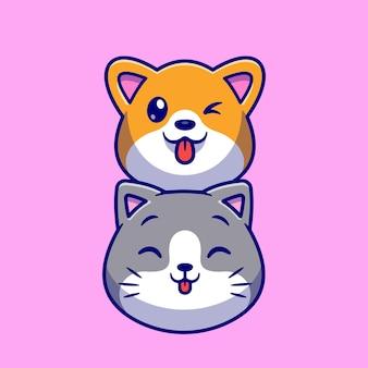 Ejemplo lindo del icono del vector de la historieta del perro y del gato. concepto de icono de fauna animal aislado vector premium. estilo de dibujos animados plana