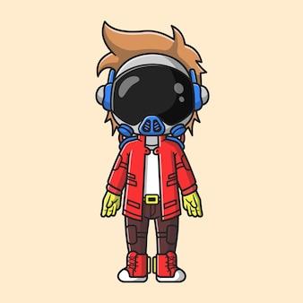 Ejemplo lindo del icono del vector de la historieta del punk del astronauta. concepto de icono de moda de tecnología aislado vector premium. estilo de dibujos animados plana