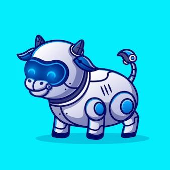 Ejemplo lindo del icono del vector de la historieta del robot de la vaca. concepto de icono de ciencia animal aislado vector premium. estilo de dibujos animados plana