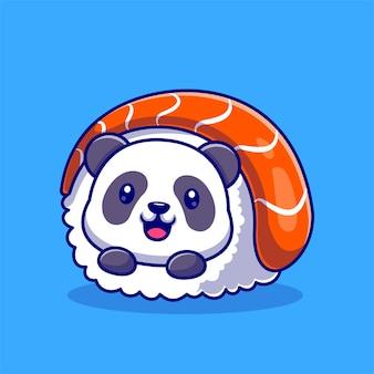 Ejemplo lindo del icono del vector de la historieta del sushi de la panda. concepto de icono de comida animal aislado vector premium. estilo de dibujos animados plana