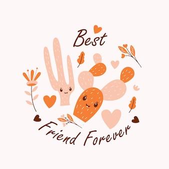 Ejemplo lindo del vector del cactus con la cita del mejor amigo para siempre