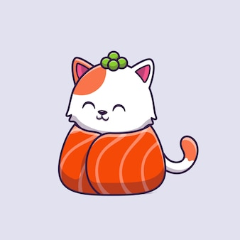 Ejemplo lindo del vector de la historieta del salmón del sushi del gato.