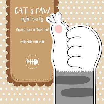 Ejemplo lindo del vector del papel pintado de las patas del gato