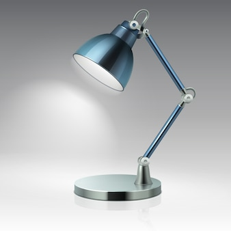 Ejemplo moderno del vector de la lámpara del metal de la tabla de la oficina aislado. luz eléctrica para interior, lámpara de escritorio para oficina.