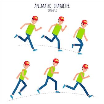 Ejemplo de personaje animado con boy in motion