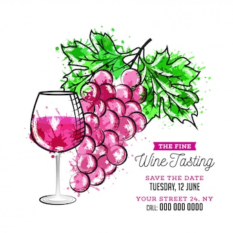Ejemplo plano de la copa de vino y de las uvas del estilo en el fondo blanco para la degustación de vinos
