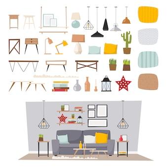 Ejemplo plano determinado de los muebles interiores y del icono del concepto de la decoración casera.