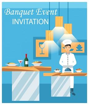 Ejemplo plano del vector de la invitación del acontecimiento del banquete