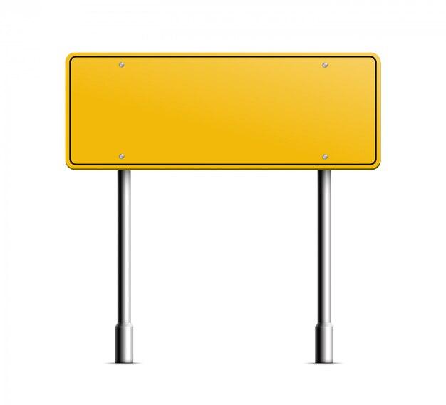 Ejemplo realista en blanco del poste indicador amarillo de la información aislado.