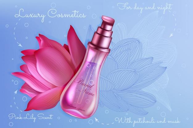 Ejemplo rosado del paquete del producto del perfume del lirio de loto de lujo. diseño 3d realista para catálogo de folletos, revista con botella de spray de empaque de perfume y hermoso fondo de flor de loto natural