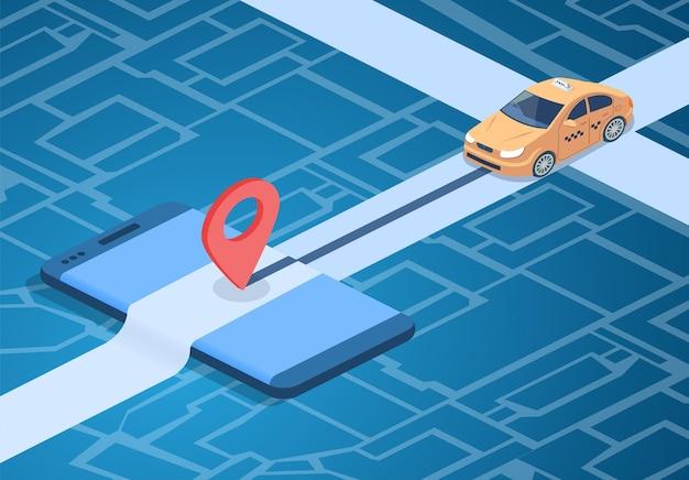 Ejemplo del servicio en línea del taxi del coche en mapa de la ciudad con el perno de la navegación en smartphone.