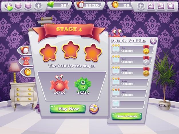 Ejemplo de tareas a realizar al nivel de un juego de computadora monstruos