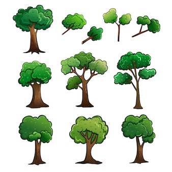 Ejemplo del vector del dibujo de la historieta del árbol y del tronco.