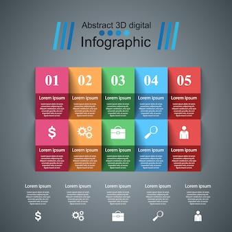 Ejemplo del vector del estilo de la papiroflexia de infographics del negocio.