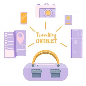 Ejemplo del vector de la historieta de la maleta del viaje vacaciones de vacaciones, viajes al extranjero planos de dibujo. tarjeta de crédito, tarjeta de embarque, boleto de avión. equipaje de viajero