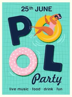 Ejemplo del vector de la invitación de la fiesta en la piscina vista superior de piscina con flotadores de piscina.