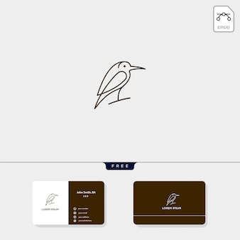 El ejemplo del vector de la plantilla del logotipo del esquema del pájaro de vuelo y el diseño de la tarjeta de visita incluyen