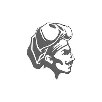 Ejemplo del vector de la silueta de la cara del hombre del cocinero aislado en el fondo blanco.