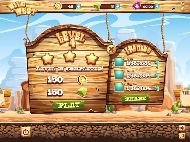 Ejemplo de la ventana del juego completa el nivel y recibe premios por jugar al salvaje oeste