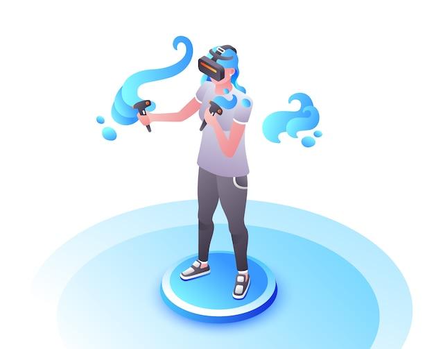 Ejemplo video del videojugador de la muchacha o de la mujer en los vidrios de vr con jugar de los controles de la palanca de mando.